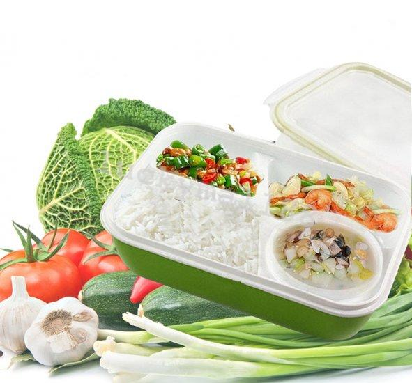 rectangular lunch big bento box microwave safe food container 4 separate spaces ebay. Black Bedroom Furniture Sets. Home Design Ideas