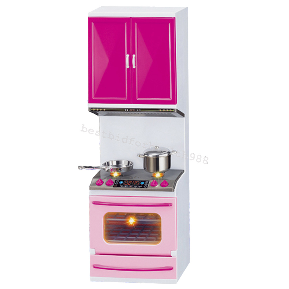 Mini Kitchen Pretend Play Cooking Set Cabinet Stove For