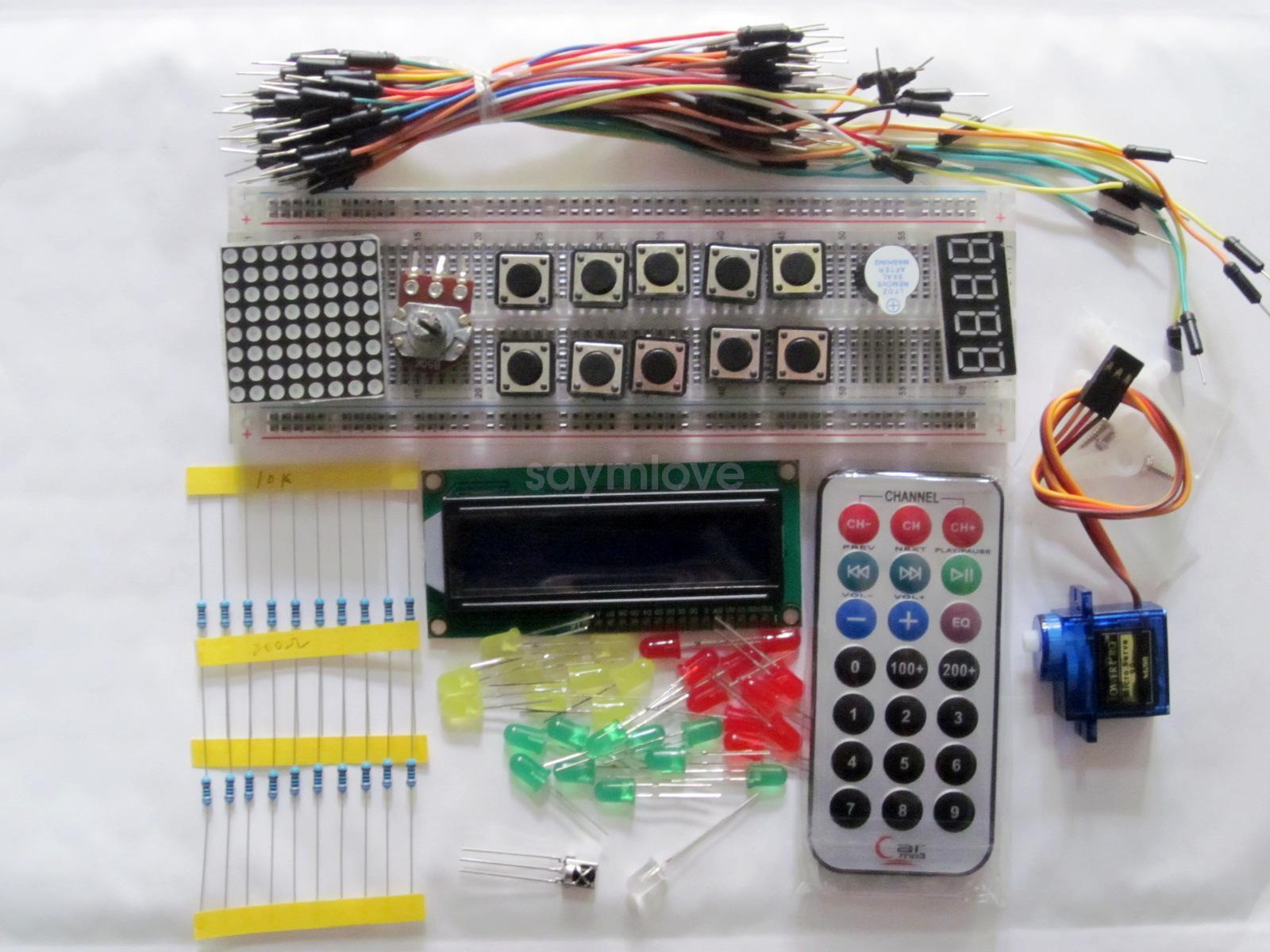 Starter Kit Wires Breadboard Led Resister Servo Ir Blue Lcd Arduino Wiring Compatible