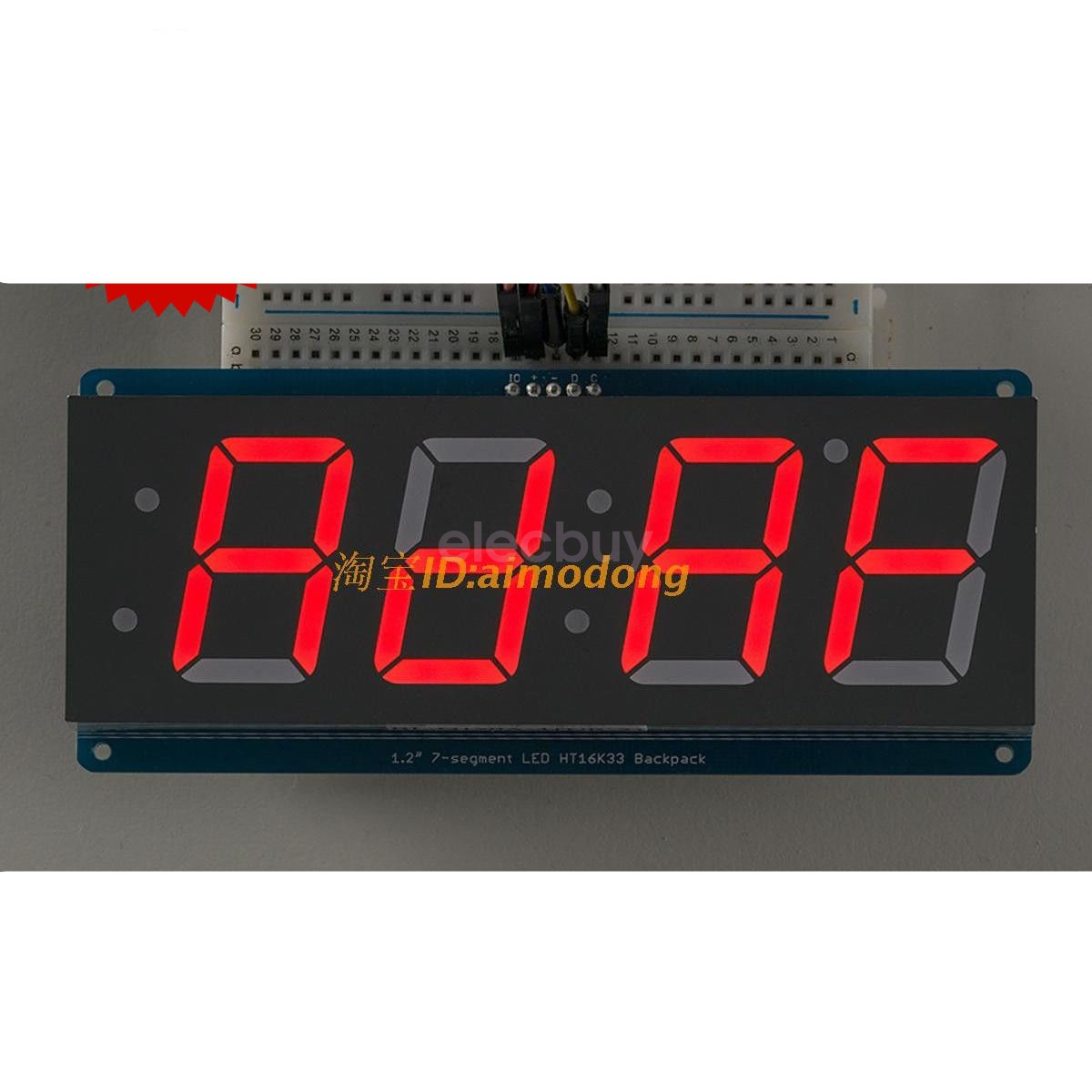 New Red 12 4 Digit 7 Seven Segment Led Display Iic For Arduino Ebay