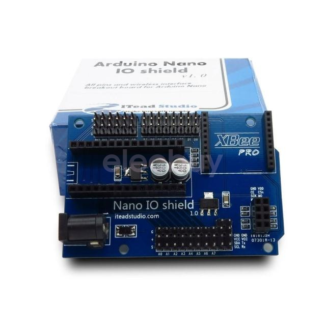 Nano IO Shield with XBee and nRF24L01 wireless interface for Arduino