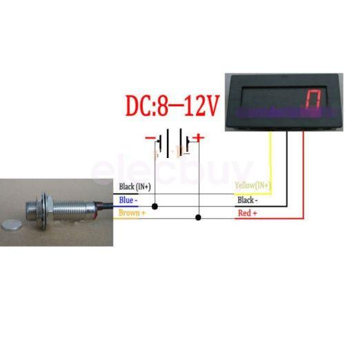 digital red led tachometer rpm speed meter hall. Black Bedroom Furniture Sets. Home Design Ideas