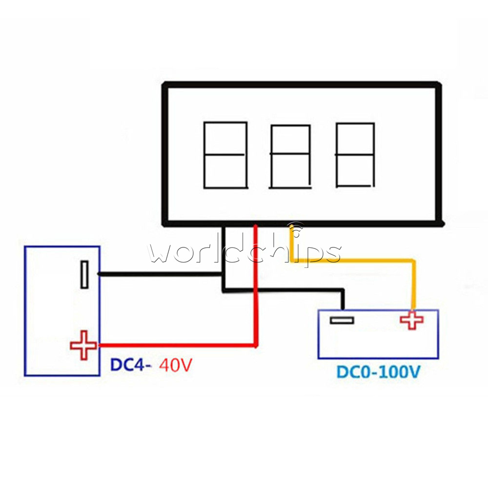 Yellow 028 Led Dc 0 100v Voltmeter Digital Display Voltage Volt Ammeter Wiring Diagram Two Line Measuring Range 4 30v Working Current More Than 20ma Input 5 Three 028inch Tube