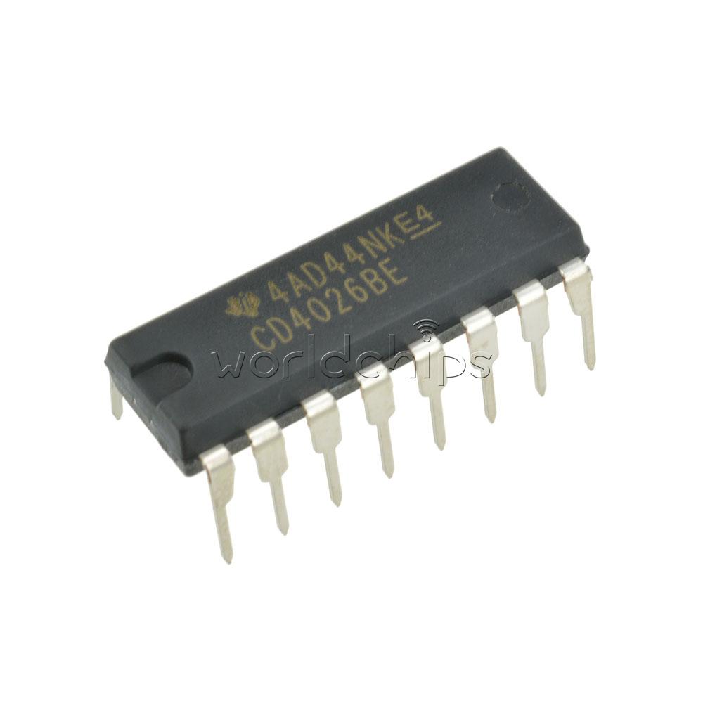 2pcs Cd4026 Cd4026be 4026 Ic Dip 16 Cmos Counters Decade Divider Ebay Single Chip Circuit