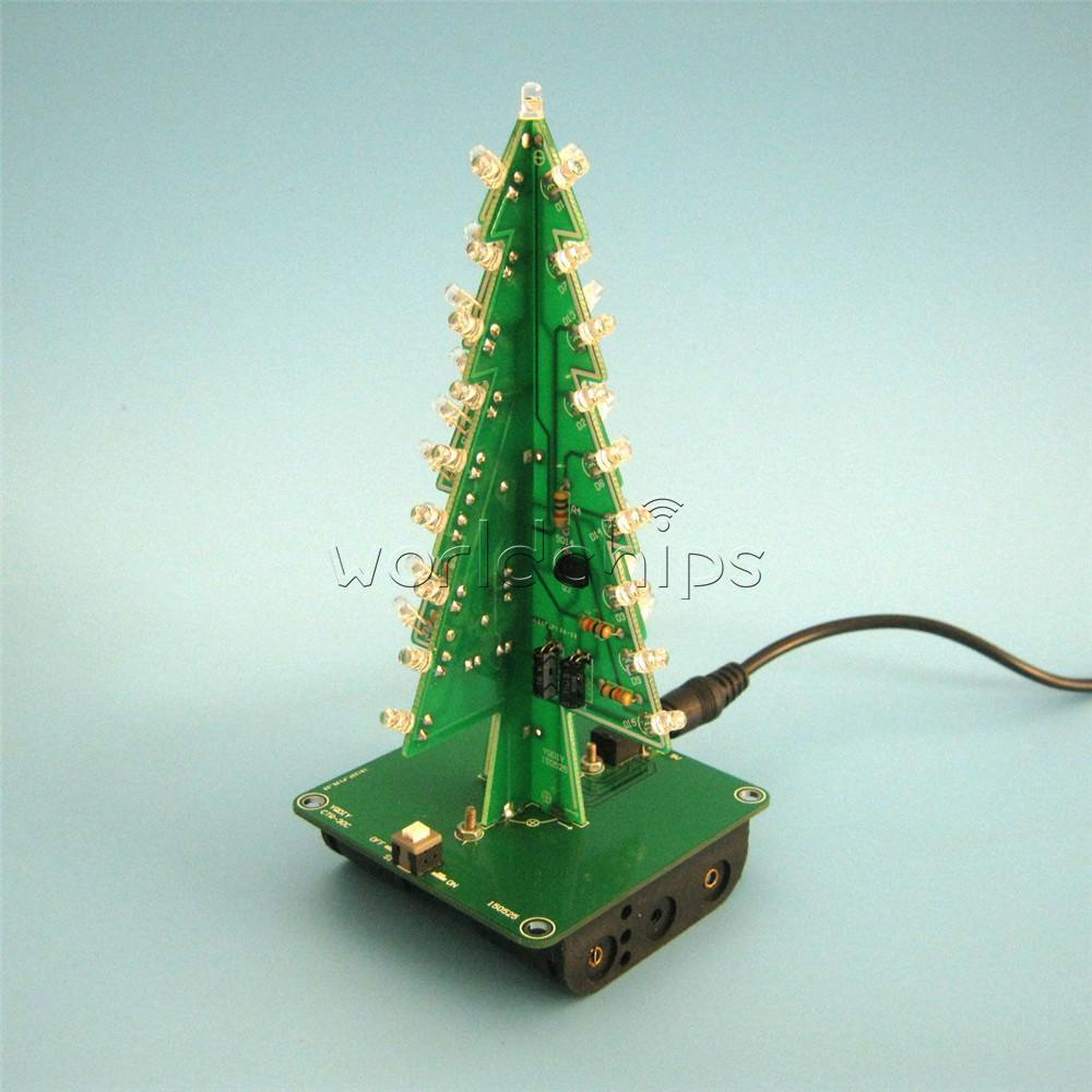 3D Xmas Tree DIY Kits 7 Color Light Flash LED Circuit Christmas ...