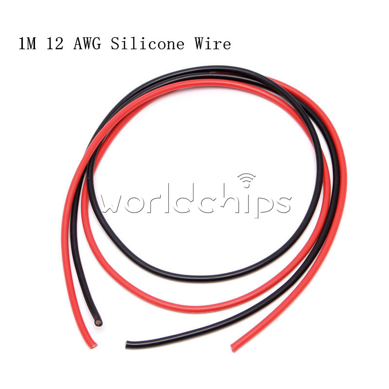 High Voltage Wire 14 Awg Stranded : Red black awg gauge wire silicone flexible copper