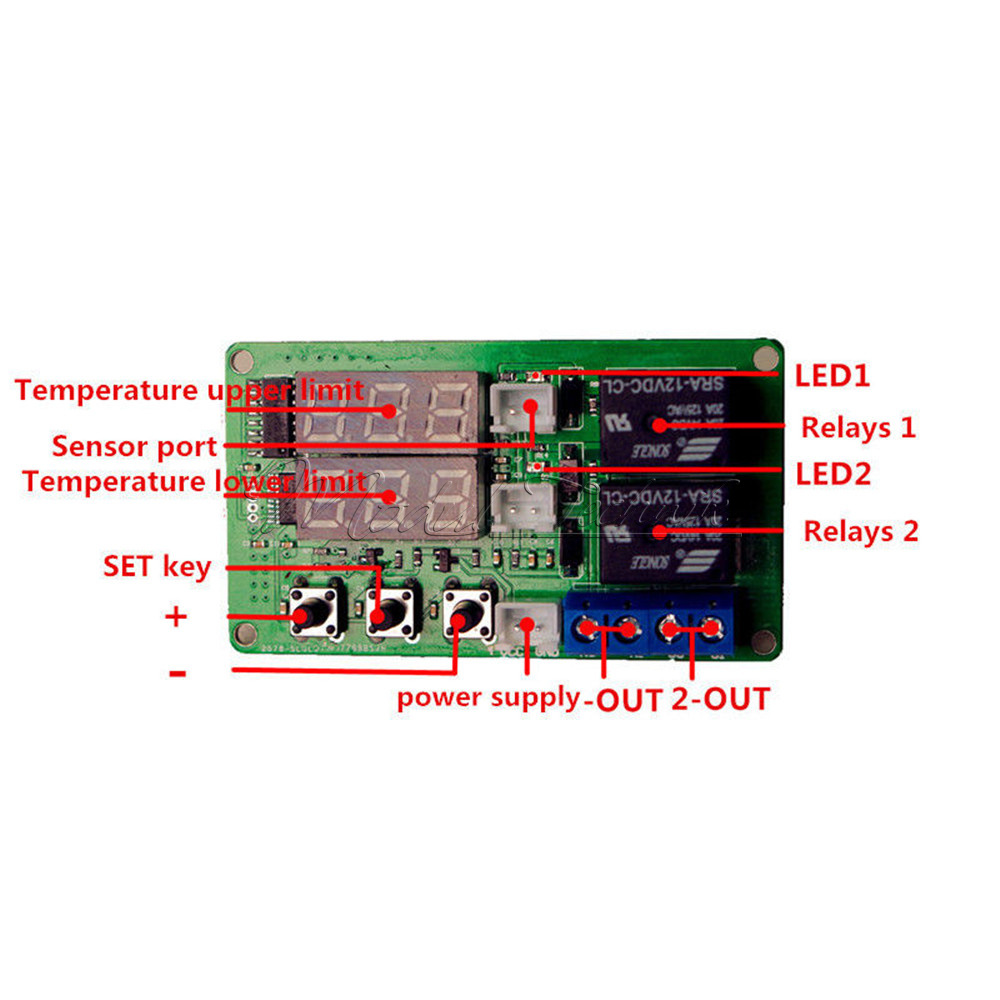 Digital v thermometer temperature controller dual relay
