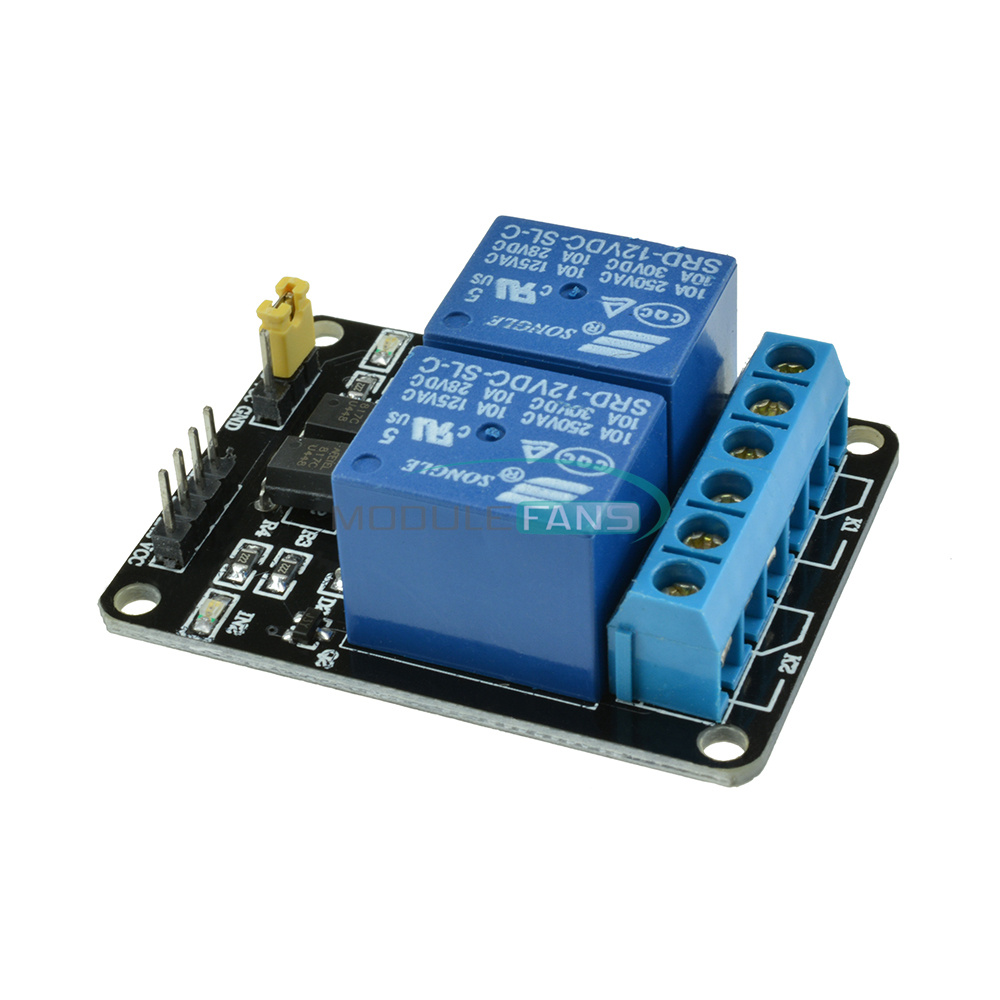 V two channel relay module with optocoupler for pic