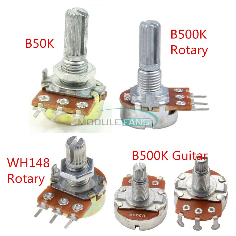 B500K //50K//1K Ohm  Knurled Shaft Linear Guitar Rotary Taper Potentiometer 3 Pins