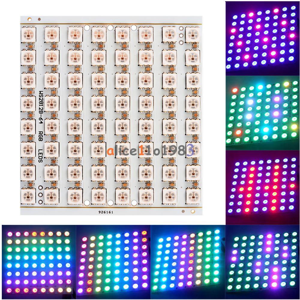 1PCS WS2812B 8x8 64-Bit Full Color 5050 RGB LED Lamp Panel Light for Arduino NEW