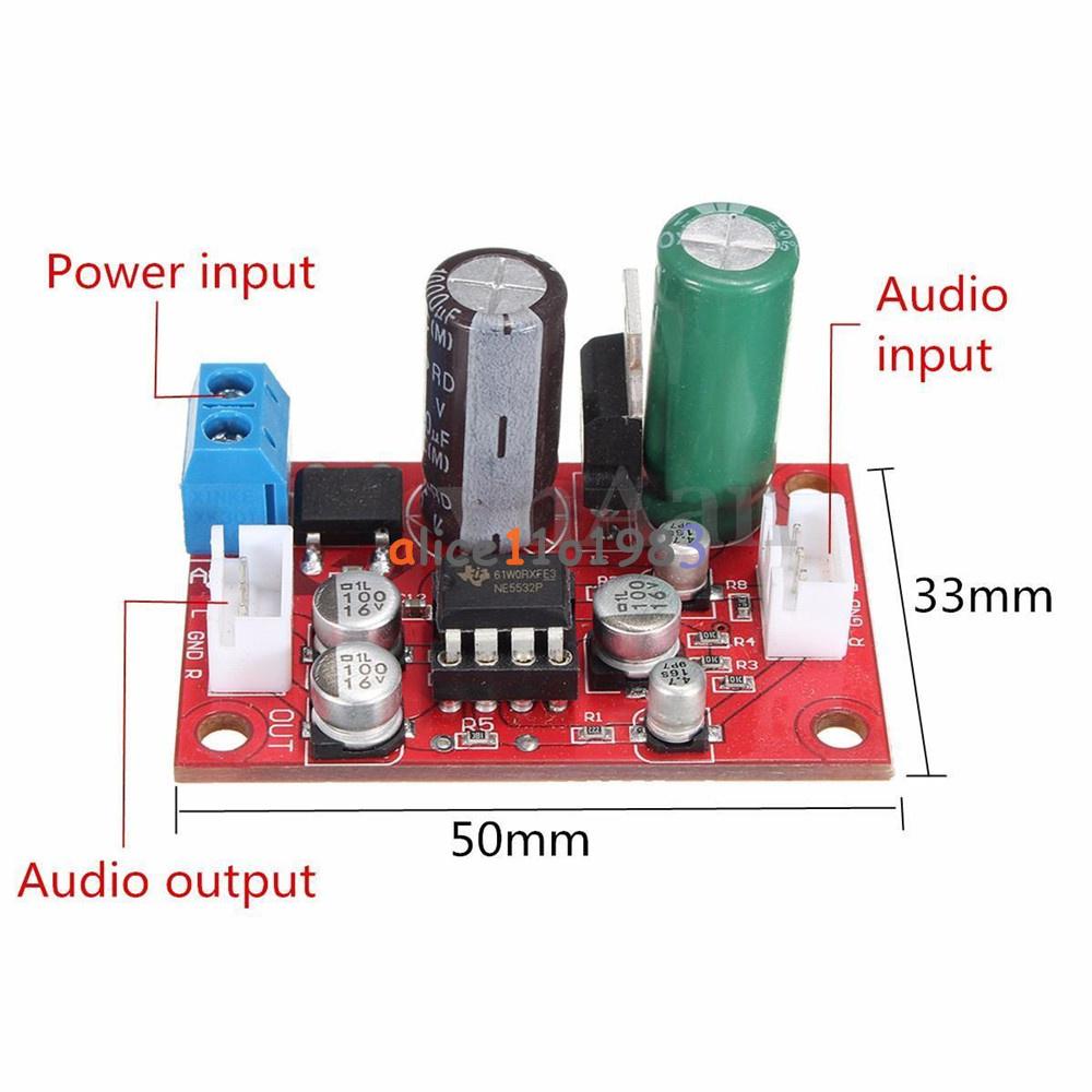 Ne5532 Dynamic Microphone Stereo Preamp Amplifier Board Diy Dc9 24v Mic Preamplifier Ac8 16v