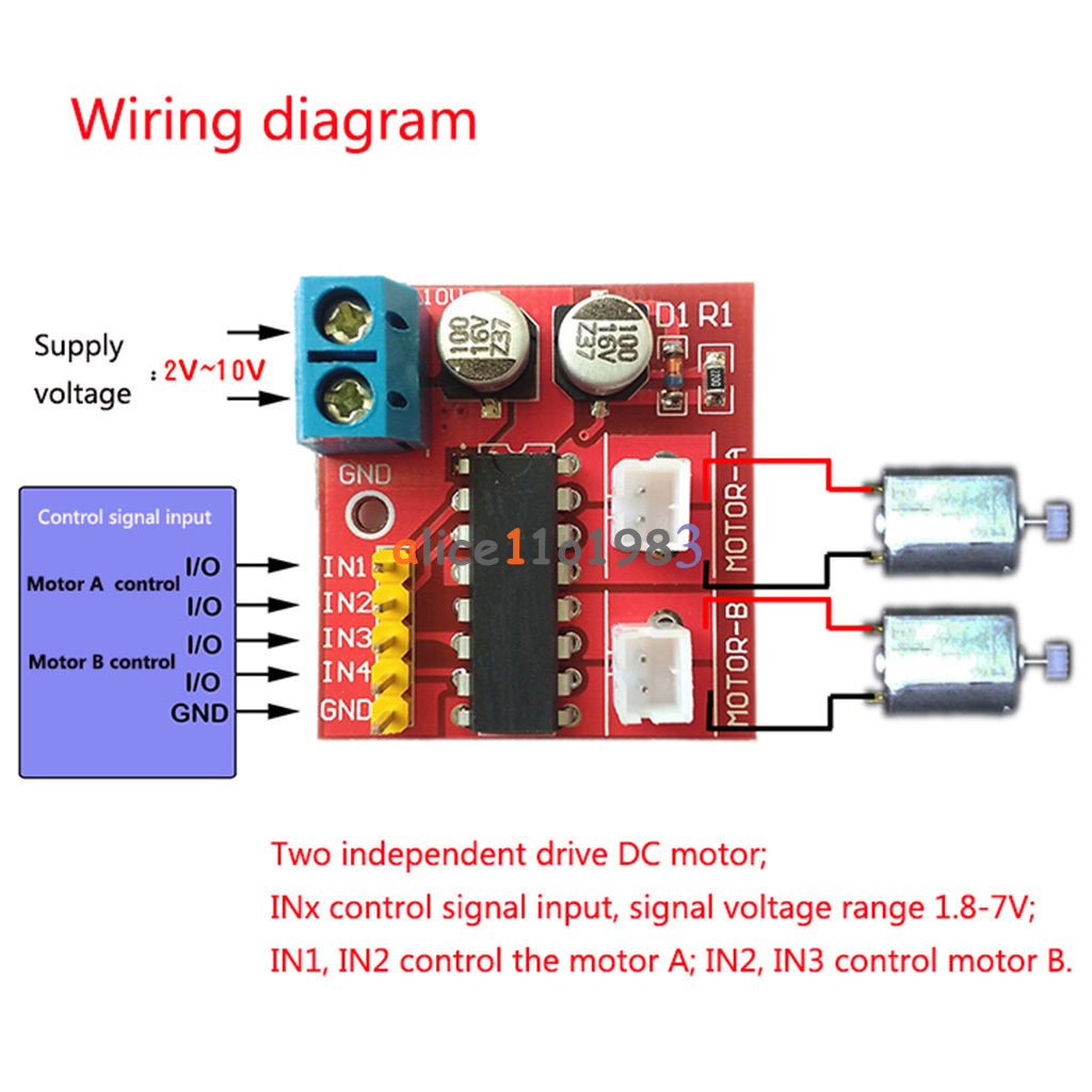 A mini dual channel dc motor driver module kit speed