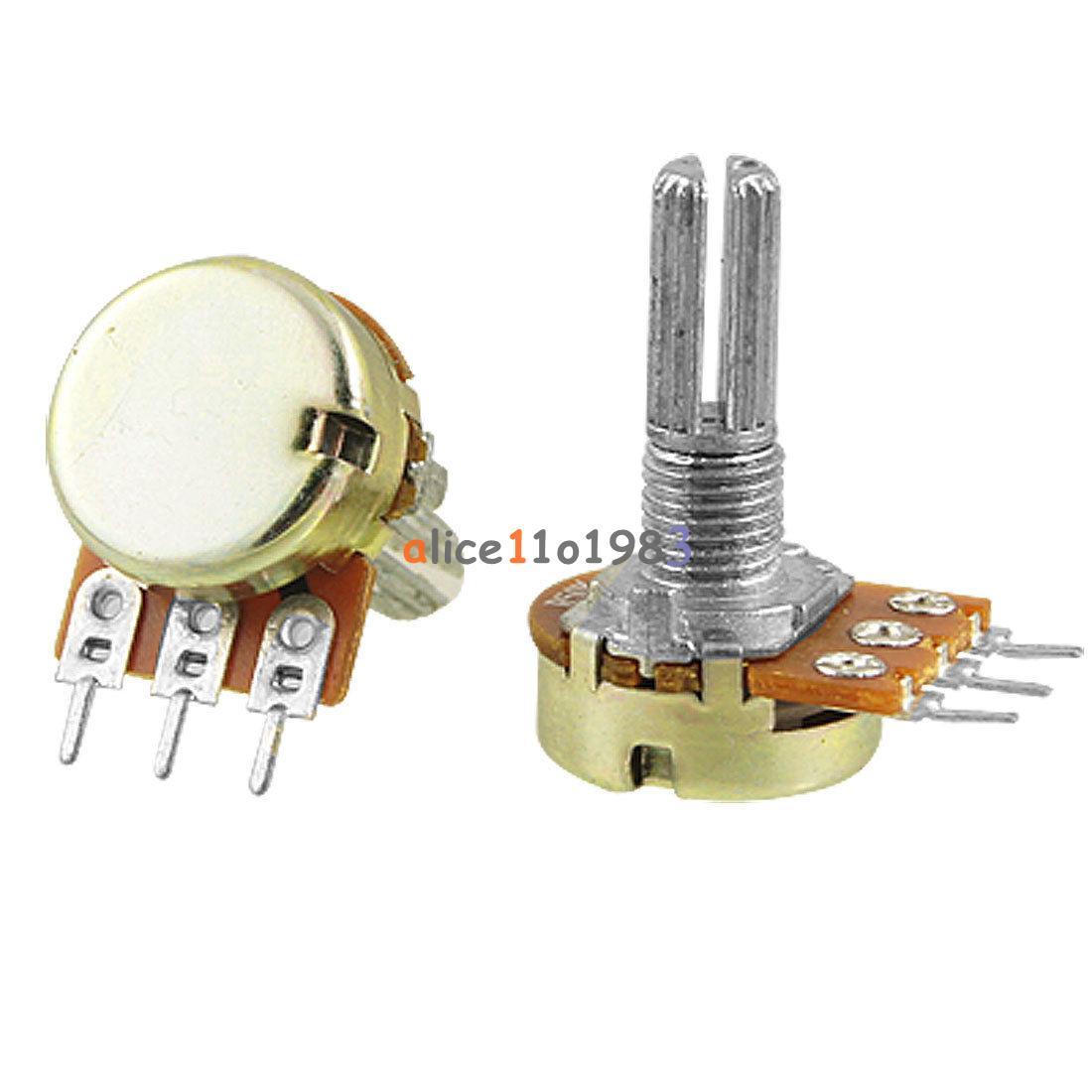 100 x B100K 100K Ohm Linear Taper Rotary Potentiometer Pot 15mm Shaft Handle