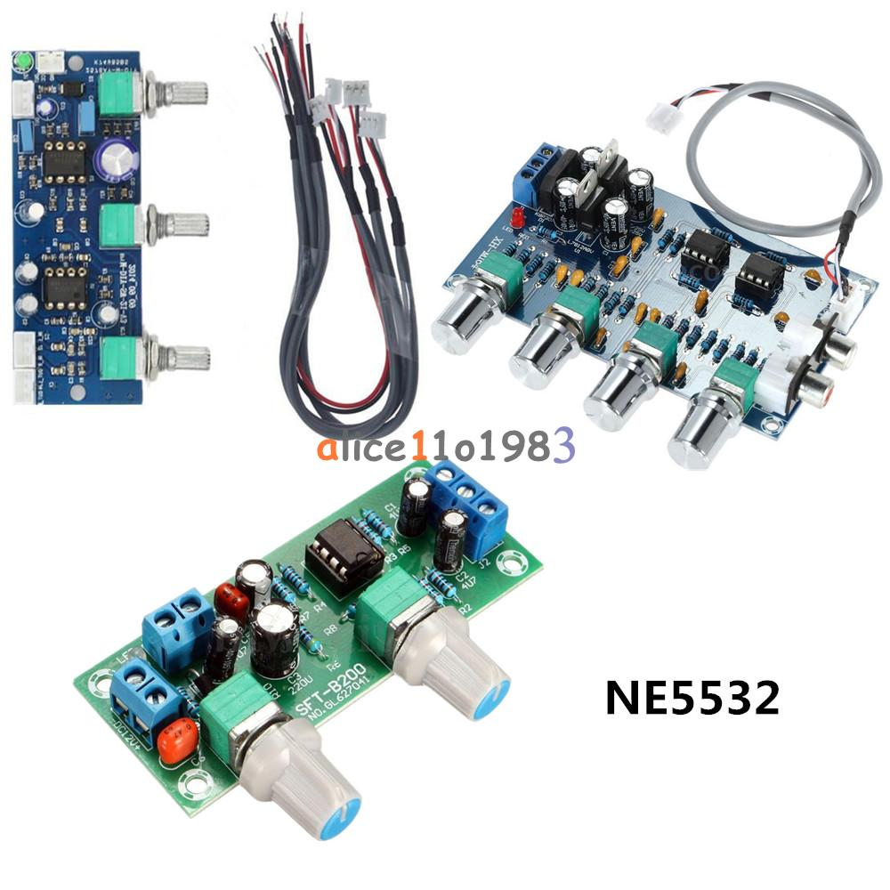 Ne5532 Stereo Subwoofer Preamp Tone Control Diy Amplifier Board Amp 2 Channel Audio Circuit Module