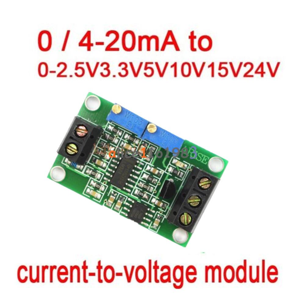 Current To Voltage Converter Module transmitter 0//4-20mA 0-2.5V3.3V5V10V15V24V