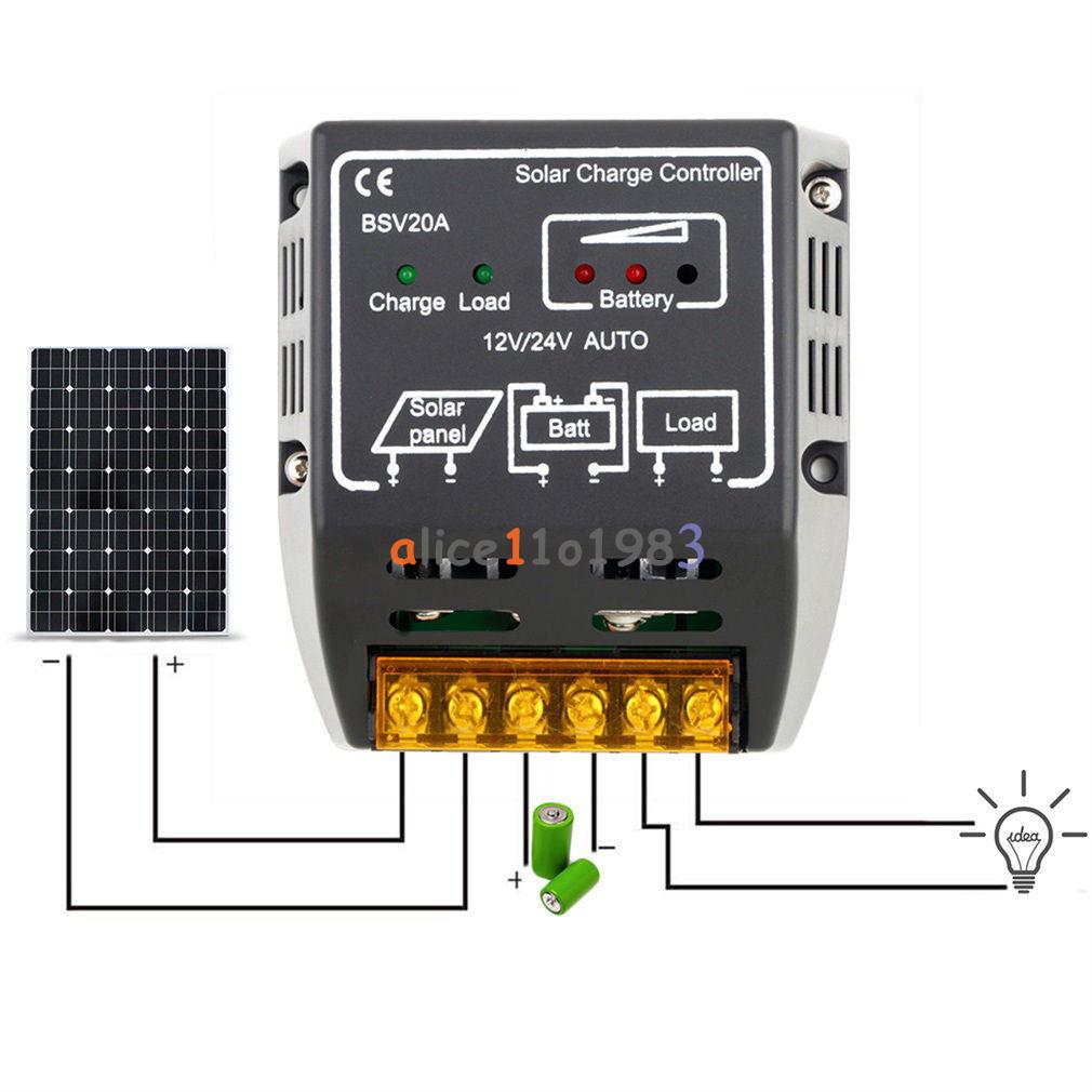 20a 12v 24v Solar Panel Charge Controller Battery Regulator Safe Circuit Protection New
