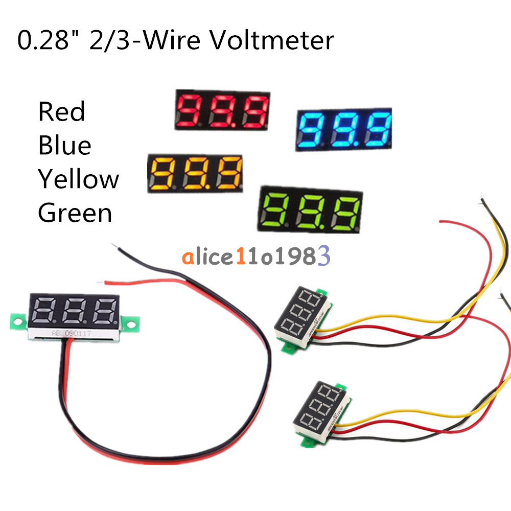 Details About 028 Red Blue Yellow Green 2 3 Wire Voltmeter Led Display Voltage Panel Meter Wiring A Gauge