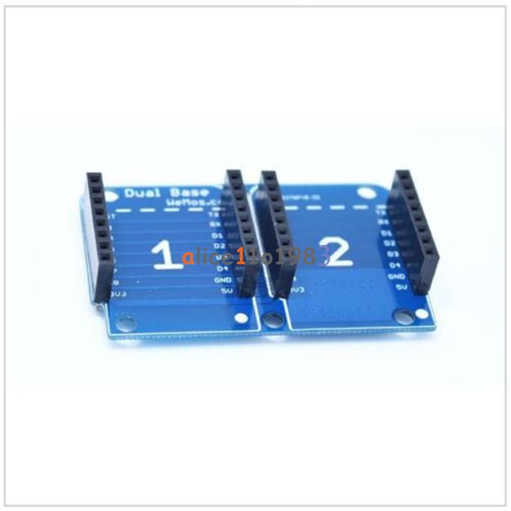 Double socket dual base shield for wemos d mini nodemcu