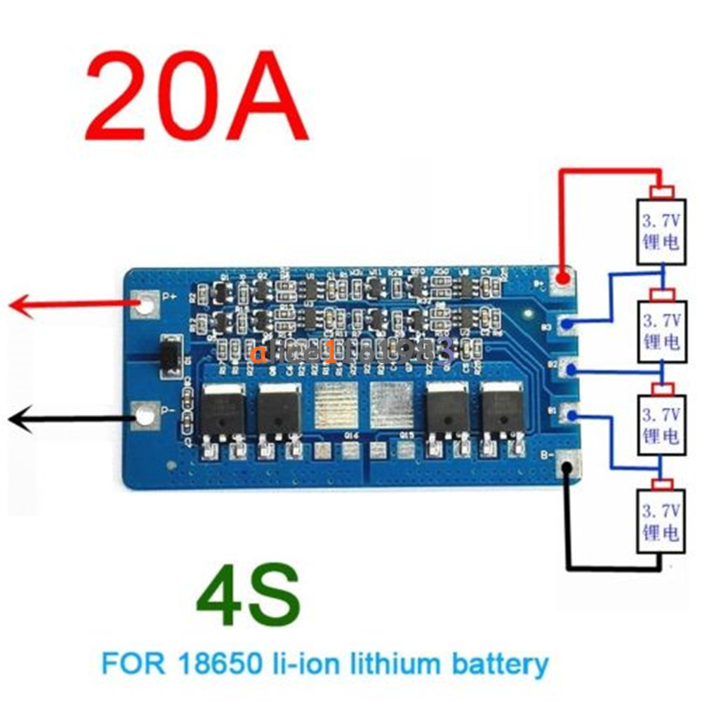 4S 20A Li-ion Lithium 18650 Battery BMS Protection PCB ...