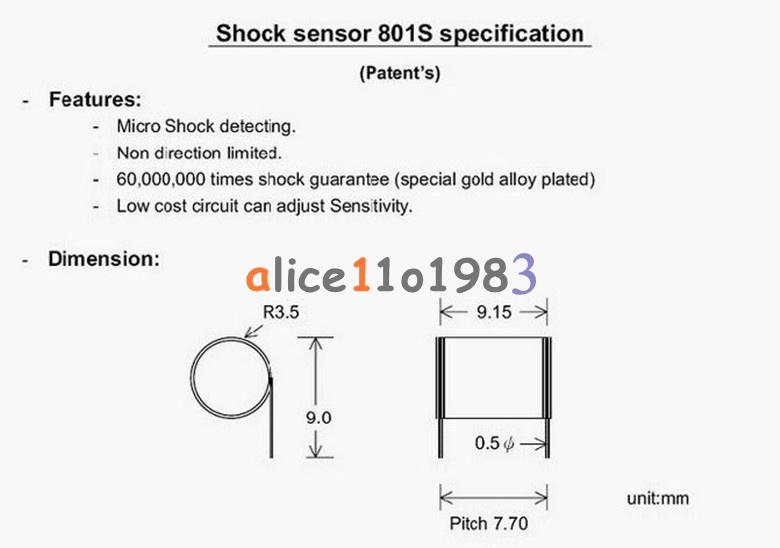 801s Highly Sensitive Vibration Sensor For Arduino