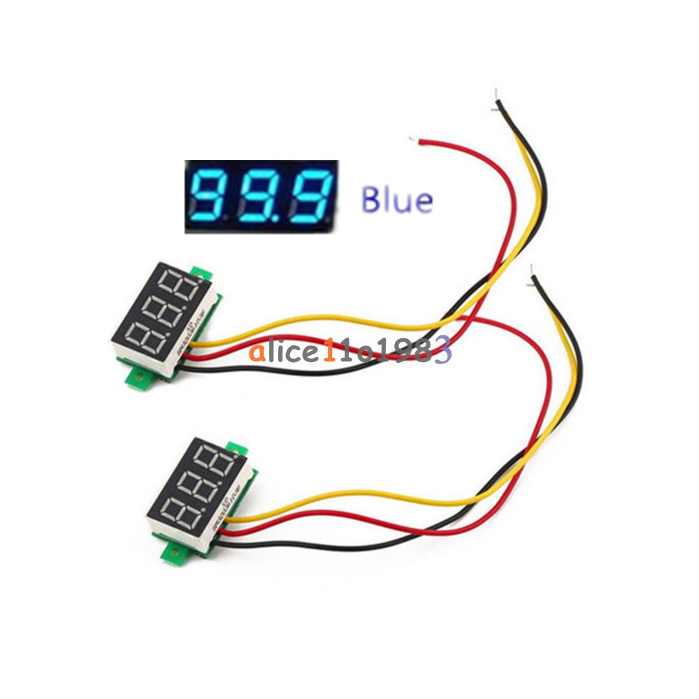 028 Blue 3 Wire Led Dc 0 100v Voltmeter Digital Display Voltage Besides Circuit Panel Meter