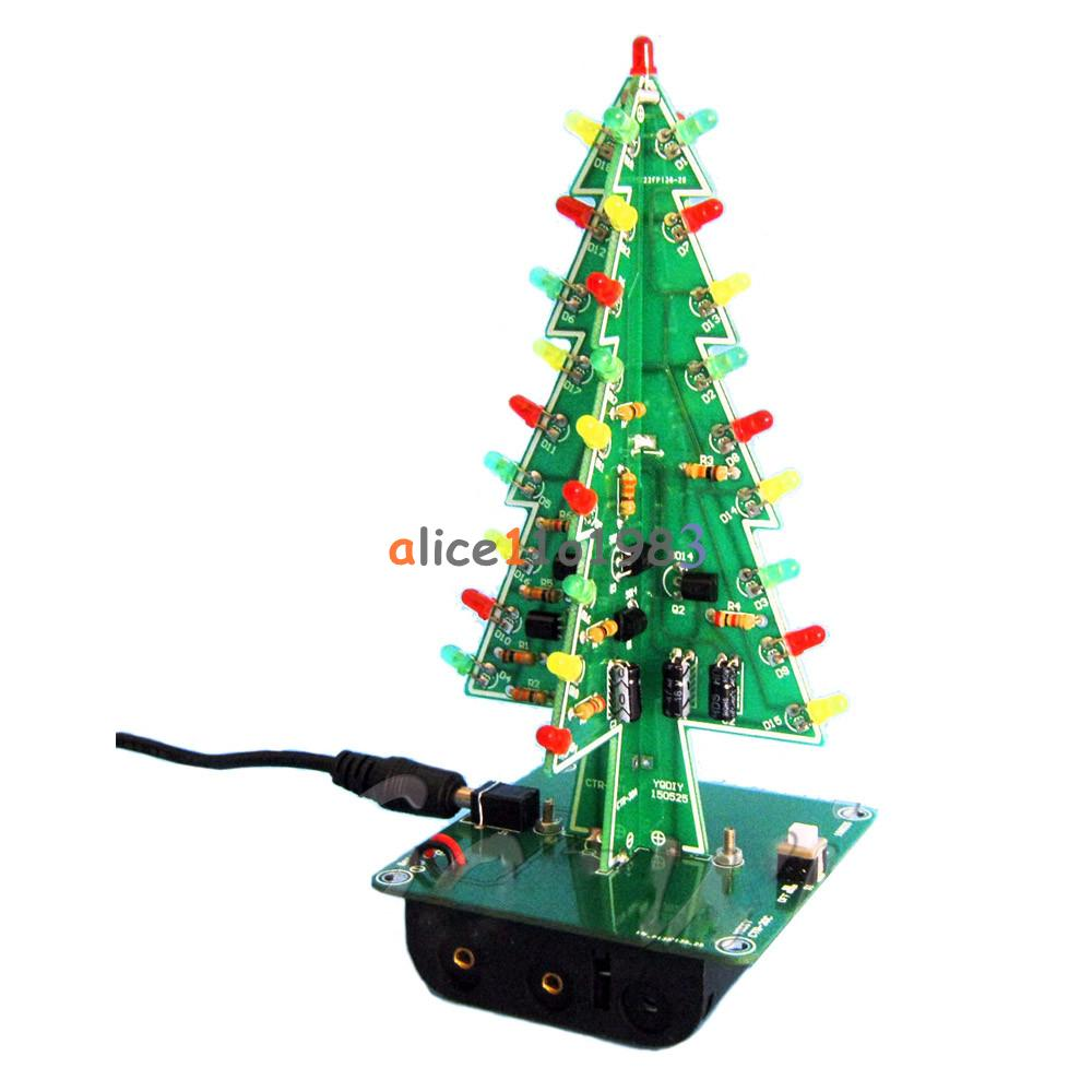 DIY 3D Christmas Kit Flashing Light LED Circuit 3/7 Colors Xmas Tree ...
