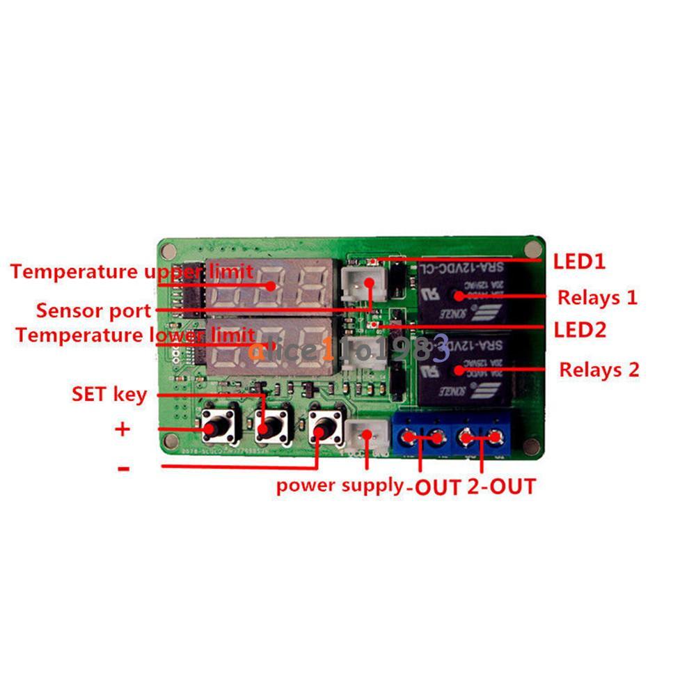 12v Digital Dual Relay Alarm Thermometer Temperature Controller Air Circuit Diagram Regulator
