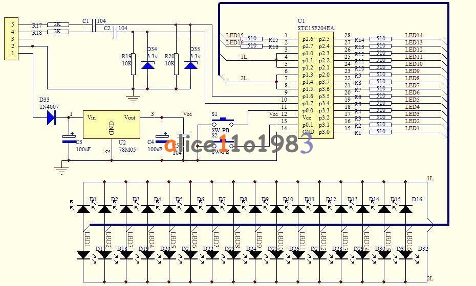 16 LED VU Meter Level Indicator Dual Channel MCU Adjustable Pattern Display LED