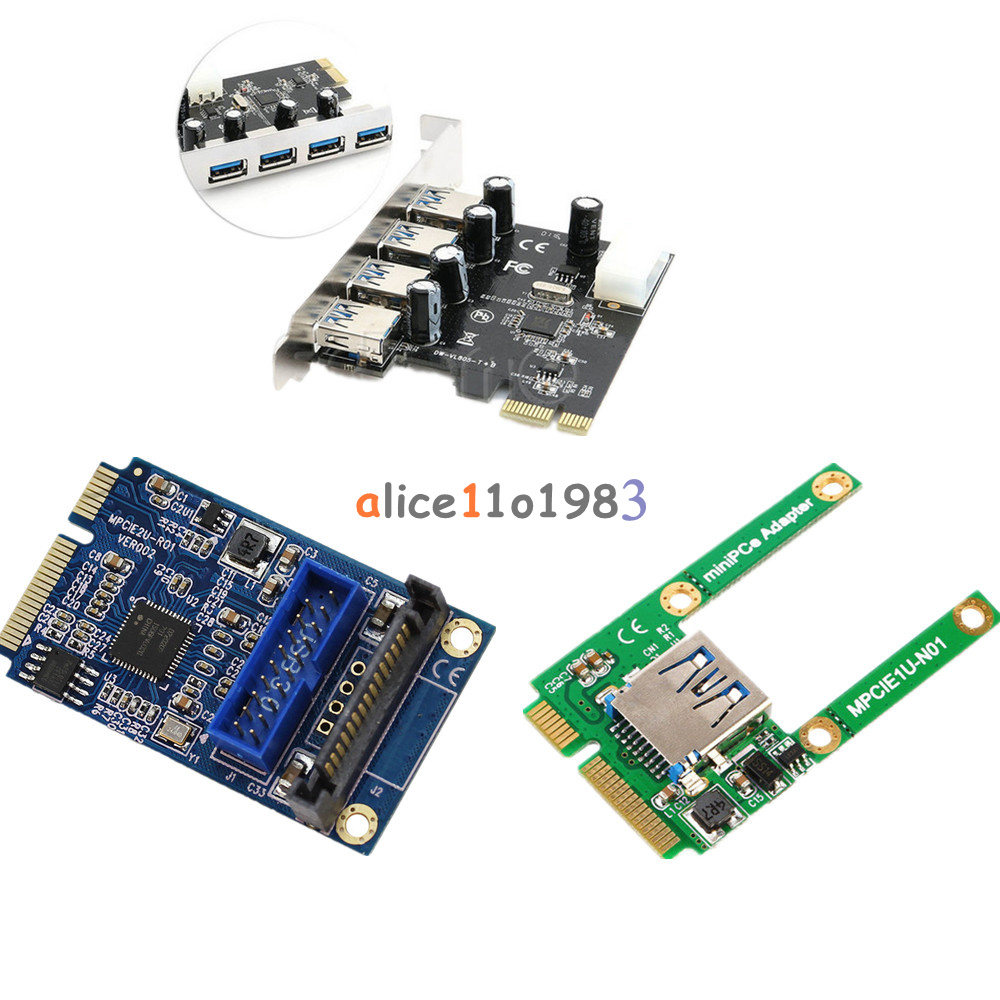 Mini 4 Port Pci E To Usb 20 30 Hub Express Expansion Card Adapter Speed