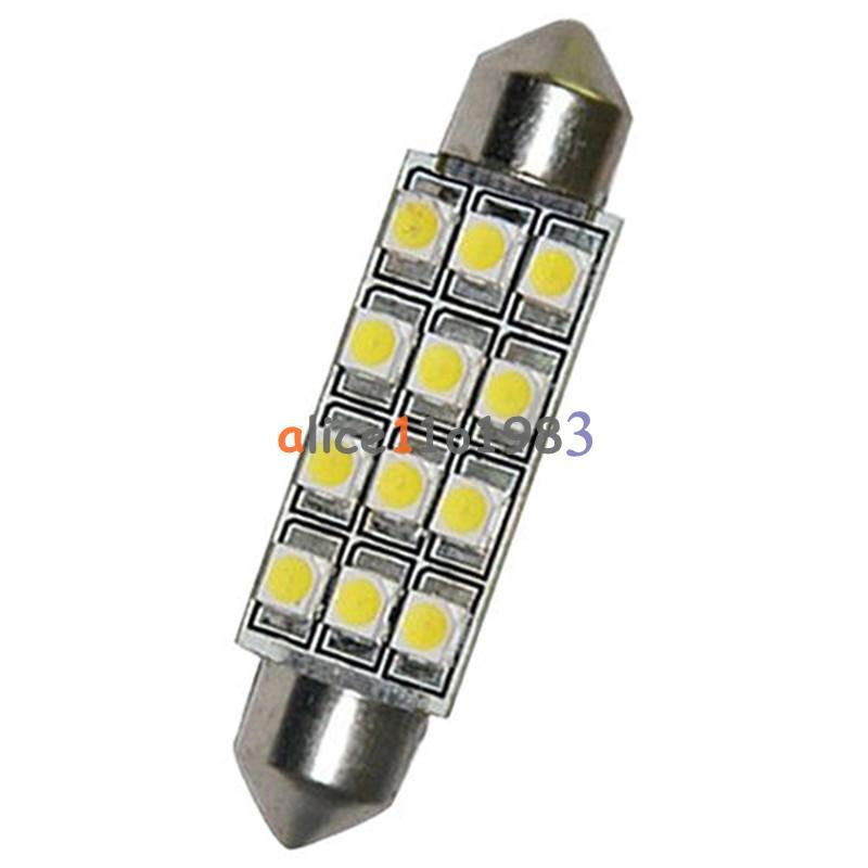 4PCS Car Dome 12 3528-SMD LED Bulb Light Interior Festoon Lamp 42mm White Great