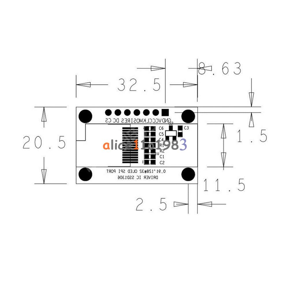 iic i2c spi 0 91 u0026quot  128x32 white  blue oled lcd display module for arduino pic
