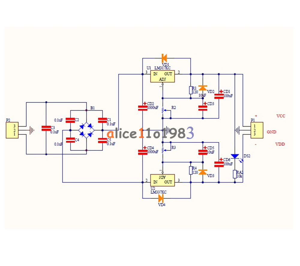 Lm317 Lm337 Adjustable Filtering Power Supply Kits Diy Ac Dc Voltage Circuit Projects Besides Regulator On