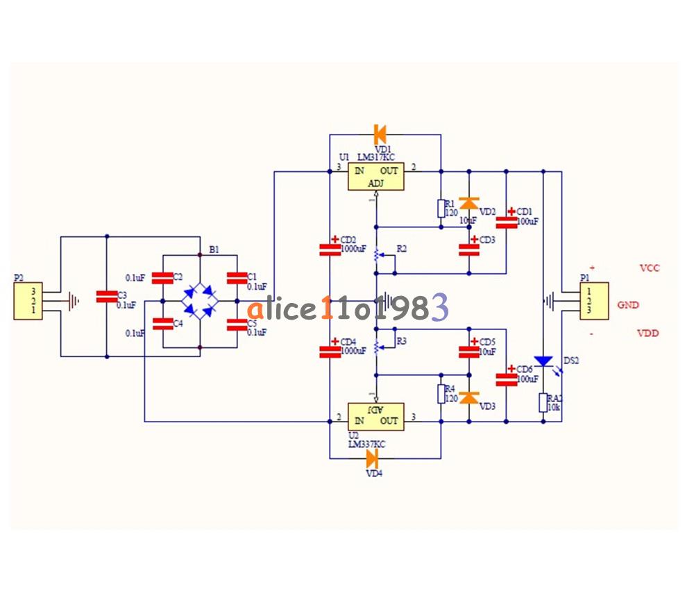Lm317 Lm337 Adjustable Filtering Power Supply Kits Diy Ac Dc Voltage Schematic Diagram Of Filter Regulator Circuit