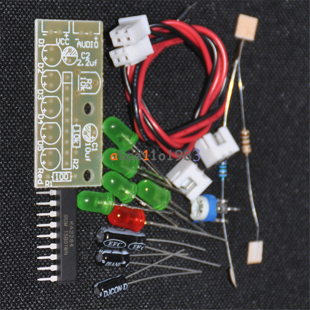 Ka2284 Audio Level Indicator Diy Electronic Kit Parts 5mm Red Green Led Circuit 35 12v