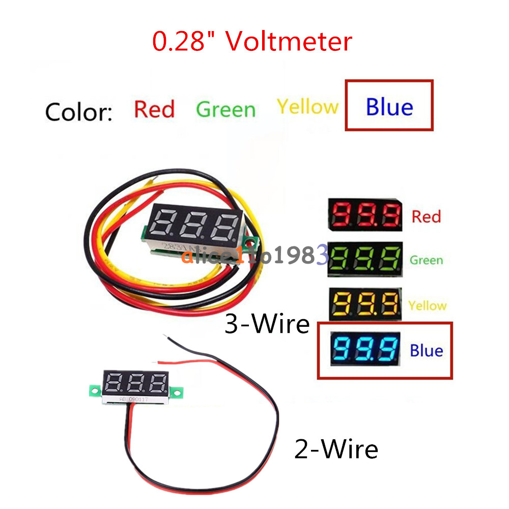 028 Red Blue Yellow Green 2 3 Wire Voltmeter Led Display Voltage Cr7 Panel Meter