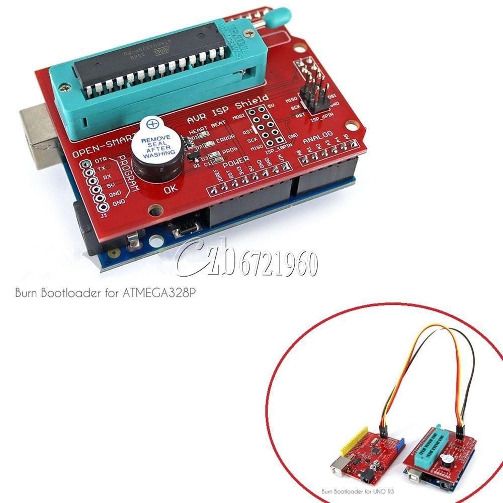 Avr isp shield burning bootloader programmer for arduino