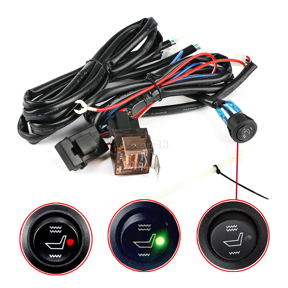Universal Car Heated Seat Kit 2 Dial 5 Level Switch Seat: Carbon Fiber Dual Switch 5 Level Heated Pads Seat Kit For