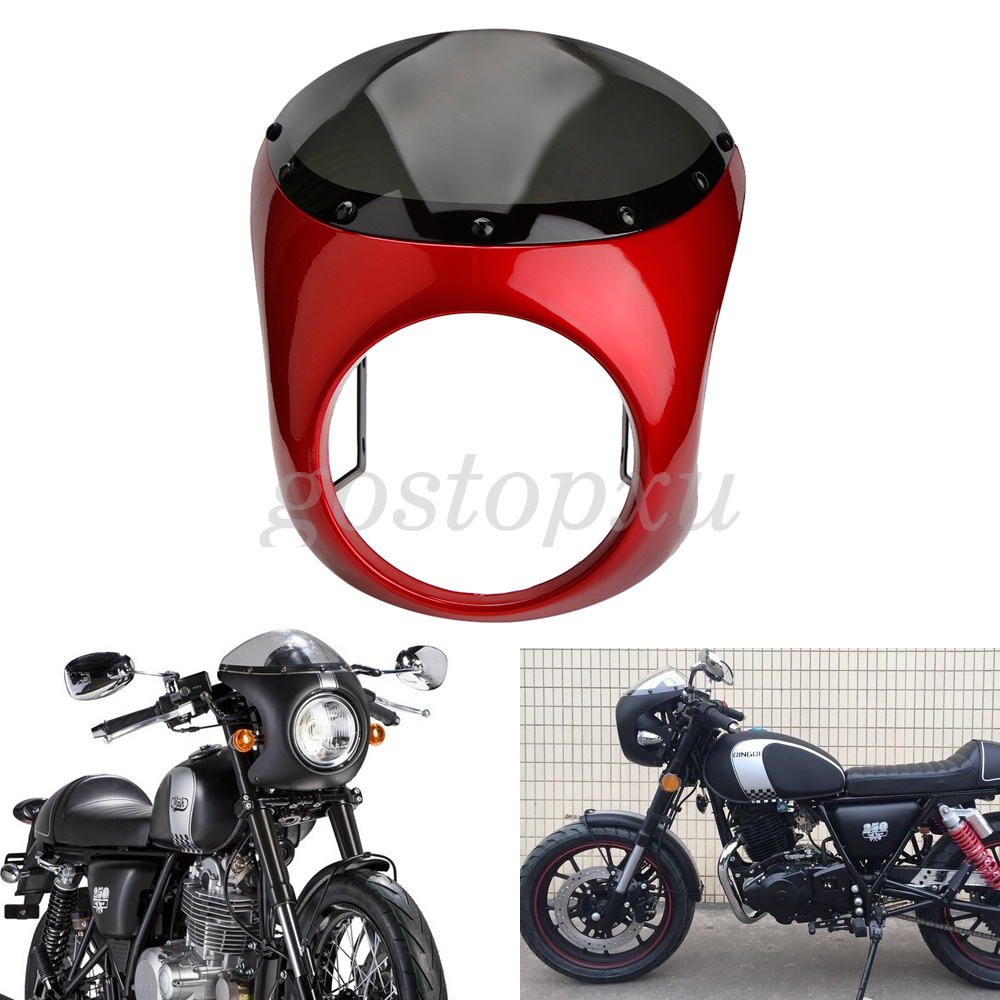 Universal 7 Quot Headlight Fairing Red Retro Cafe Racer