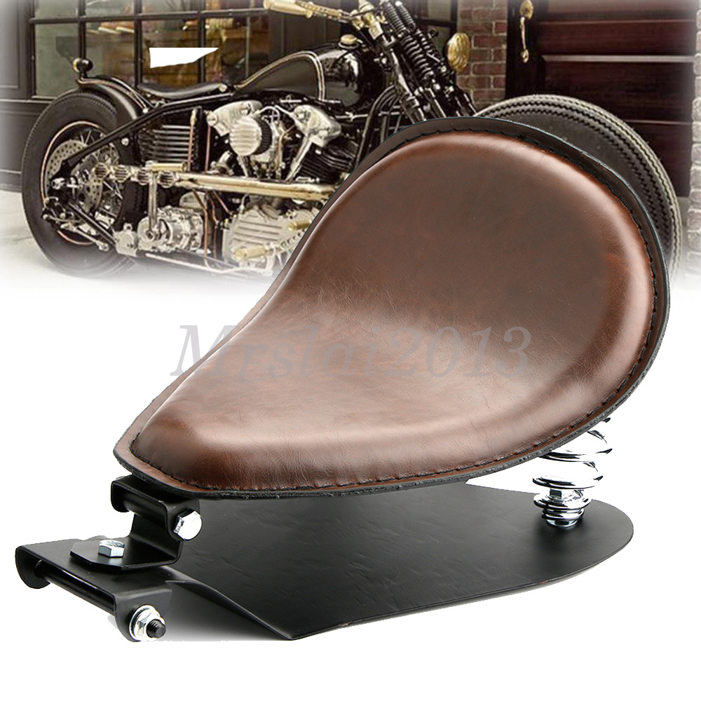 Universal Motorcycle Seats : Universal motorcycle quot brown leather springs solo seat
