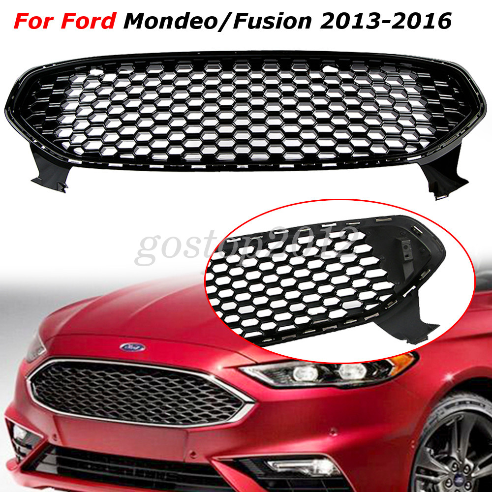 Front Center Bumper Grille Grill Shiny Black Fr Ford