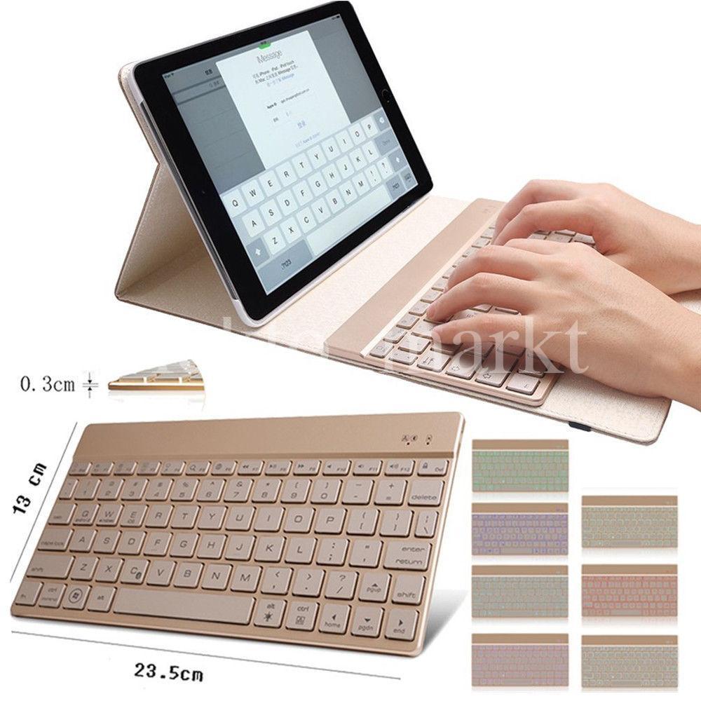 ipad air 2 leder h lle beleuchtet bluetooth tastatur case smart cover qwertz. Black Bedroom Furniture Sets. Home Design Ideas