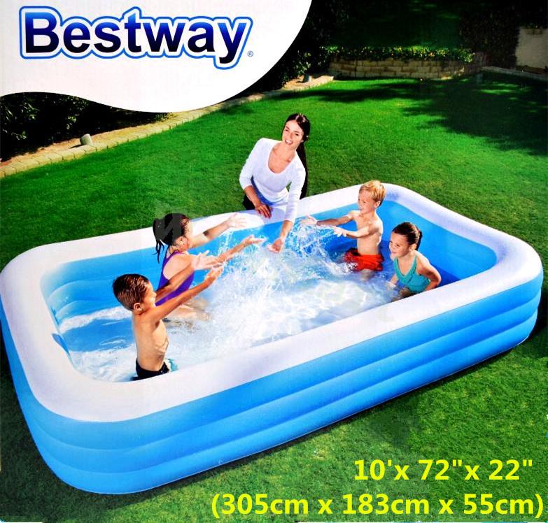 Bestway Inflatable Kids Family Swimming Pool Rectangular 305cm 54009 Pump