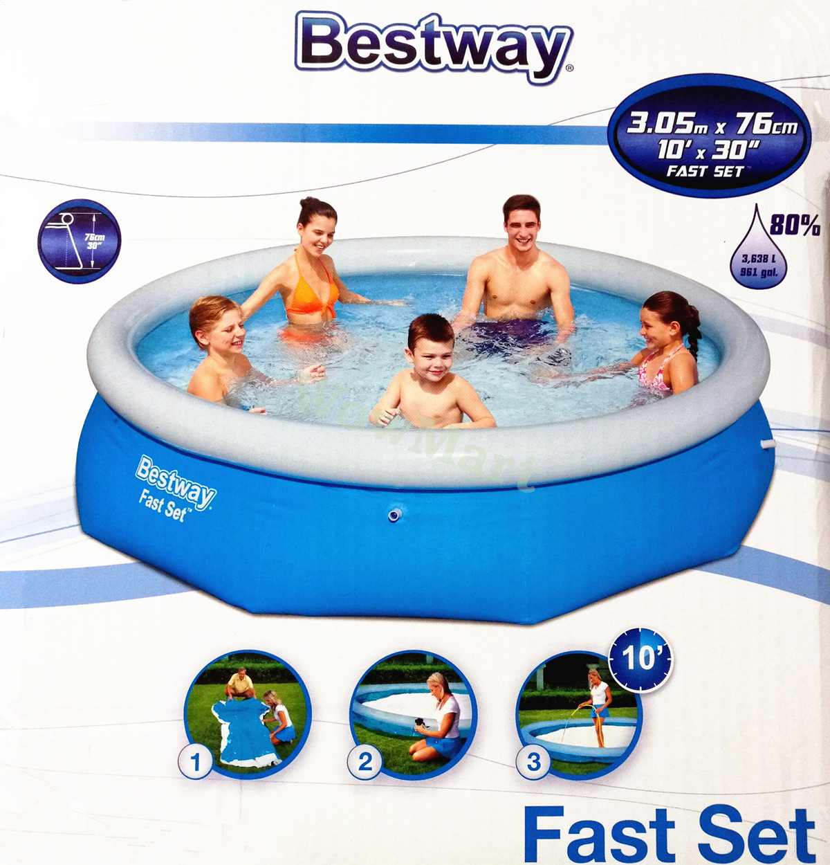 Gift New Bestway Inflatable Family 10 Foot Fast Set Pool 305cm 76cm 57266 Ebay