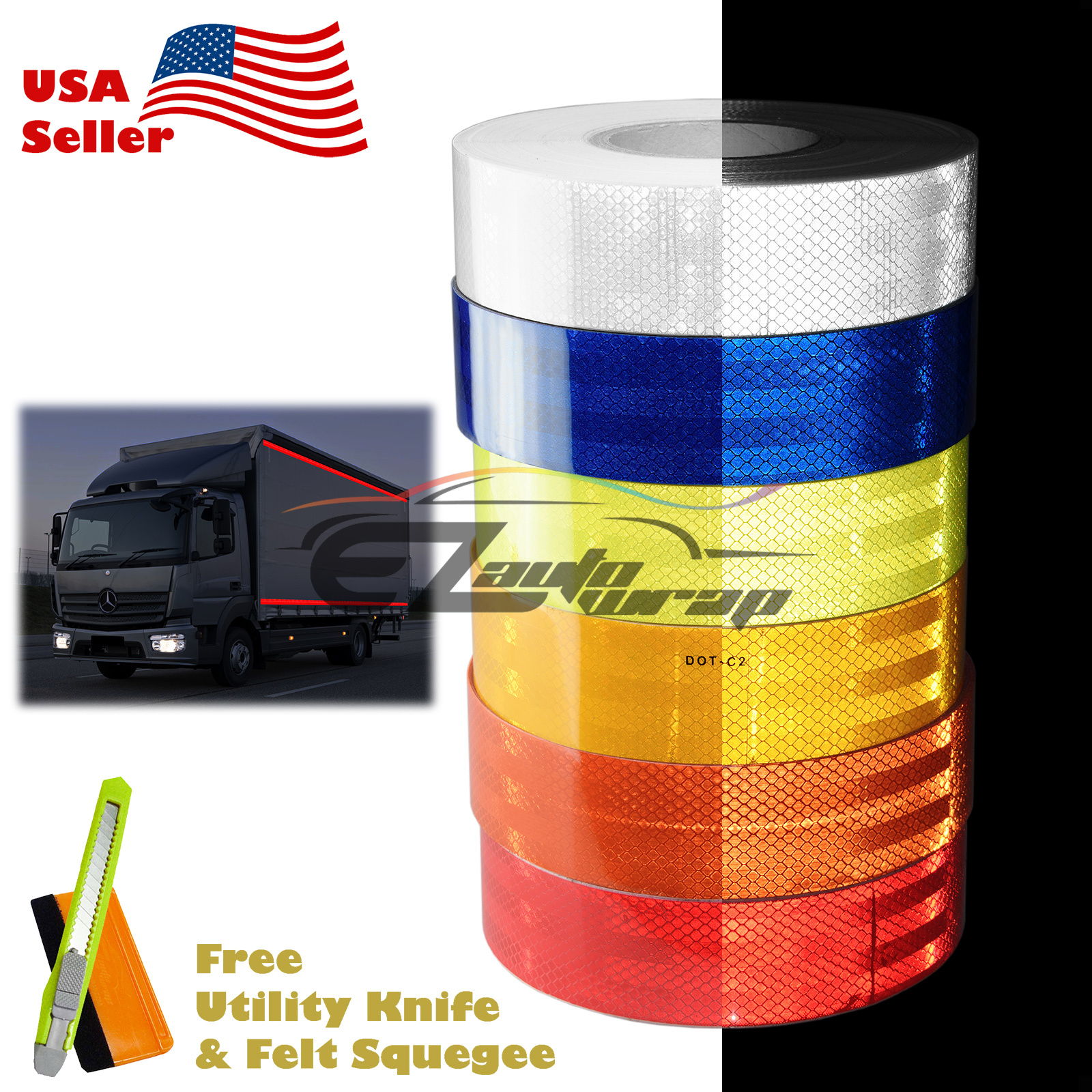 "*Reflective Conspicuity Tape 2/""x150/' Warning Sign Safety Car Truck RV Boat Red"