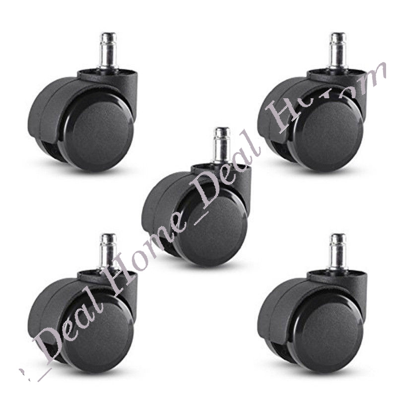 office chair caster wheel swivel rubber wood floor home furniture replacementset ebay. Black Bedroom Furniture Sets. Home Design Ideas