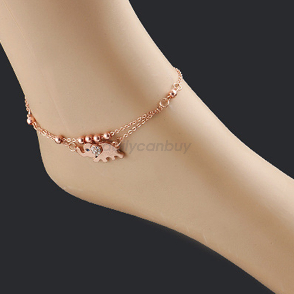 Charm Ankle Bracelet Women Rose Gold Elephant Anklet Foot ...
