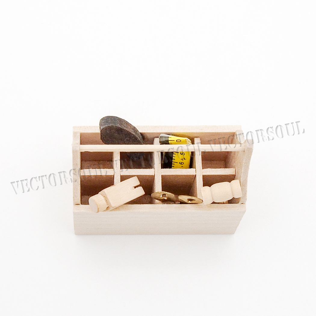 1 12 Dollhouse Wooden Unfinished Toolbox Household Tools Furniture Miniature New Ebay
