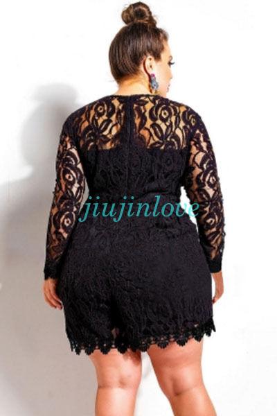 9918730558d Women s Plus Size Round Neck Long Sleeve Floral Lace Romper Jumpsuit  Playsuit 3X