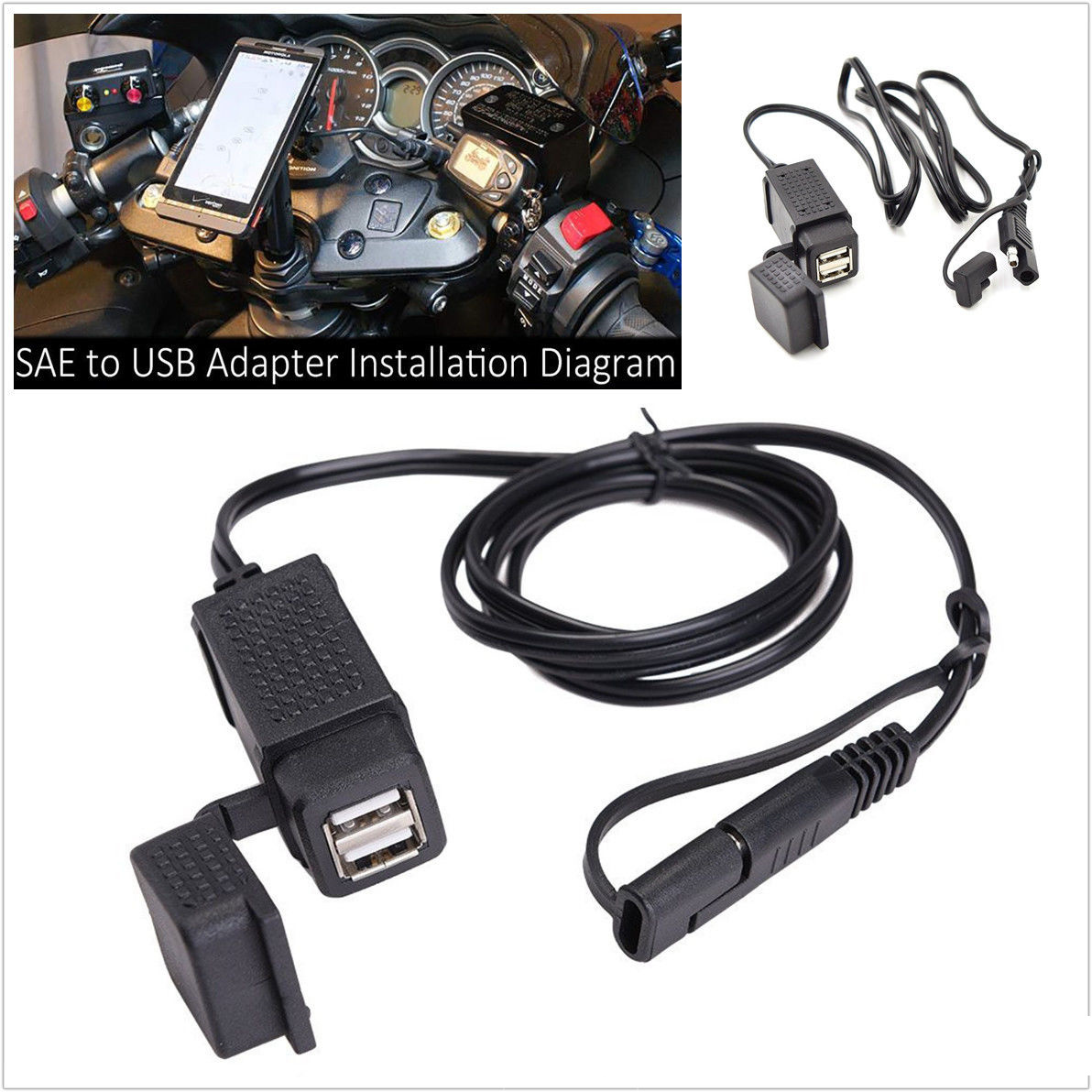 360 °Rotation Motorcycle 2.1A Dual USB Charger Ports SAE to USB Cable Adaptor