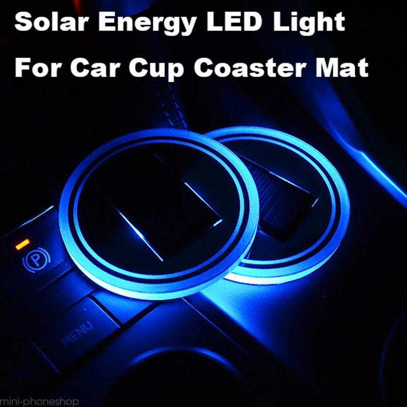 Solar Energy Cup Holder Bottom Pad Led Light Cover For